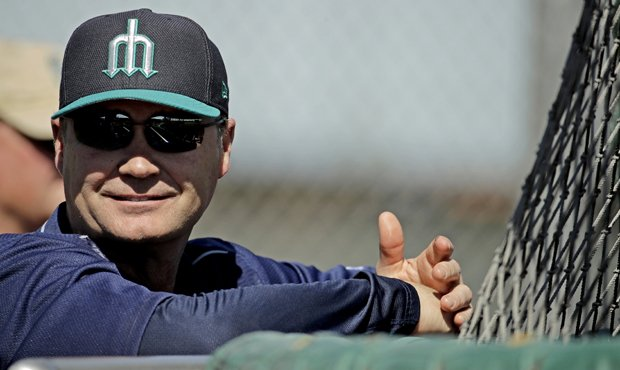 The Mariners brought back the upside-down trident logo for spring training in 2017. (AP)...